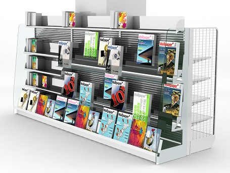 Double-sided Magazine Display Shelves